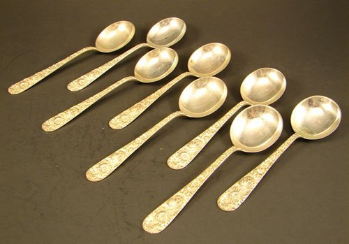 23: Eight Kirk Repousse Sterling Silver Soup Spoons. 7.