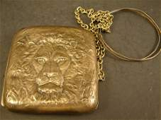 61: Sterling Antique Ladies Purse with Lions mark in re