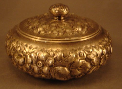 7: Gorham Sterling Repousse Dresser / Vanity Box with F