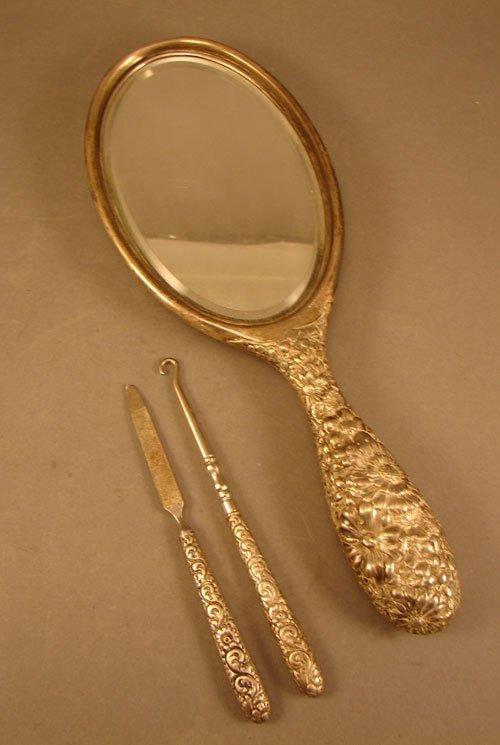 10: Gorham Repousse Sterling Three Piece Vanity Set. Ha