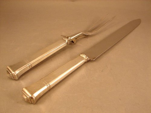 17: Tiffany & Co. Sterling Handled Carving Set. pattern