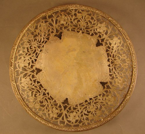 18: Tiffany Sterling Tray on Pedestal with Pierced and