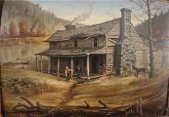 101: American Folk Art Antique E.A. Bigelow Painting on