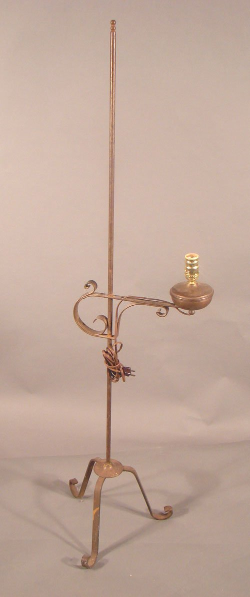 231: Early Electric Wrought Iron Adjustable Floor Lamp