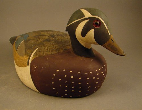 """318: Decoy, hand painted with glass eyes. 6""""h x 6""""w x 1"""