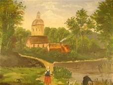 1069 Antique Folk Art Oil Painting on board Depicting