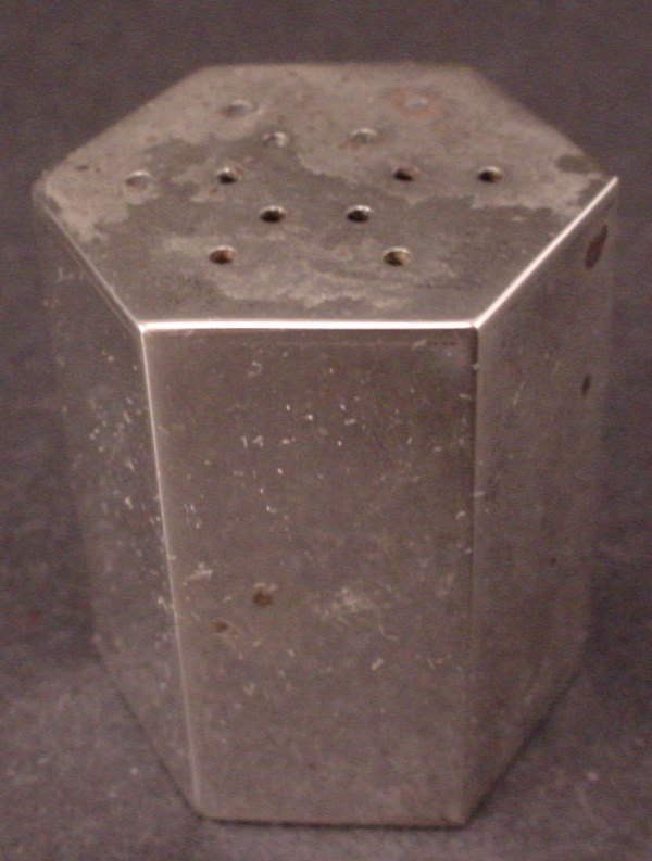 """13A: """"Tiffany & Co."""" Sterling Silver pepper shaker. Hex"""