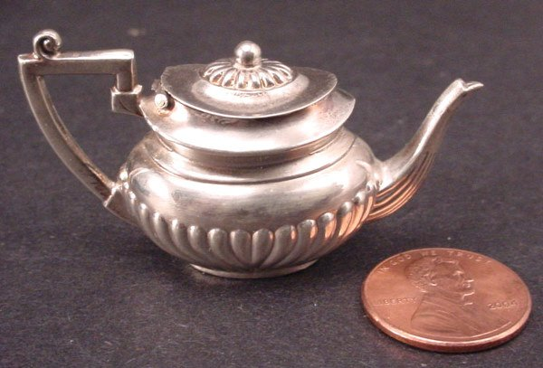 17A: English Sterling Silver Miniature Teapot. Made in