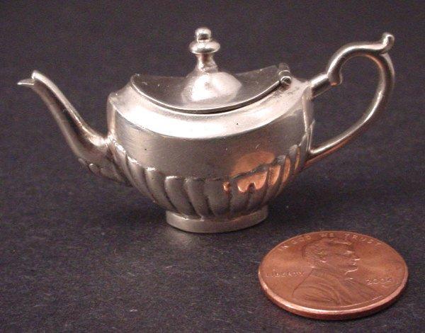 "19A: Sterling Silver Miniature Teapot w.""M"" hallmark. 1"