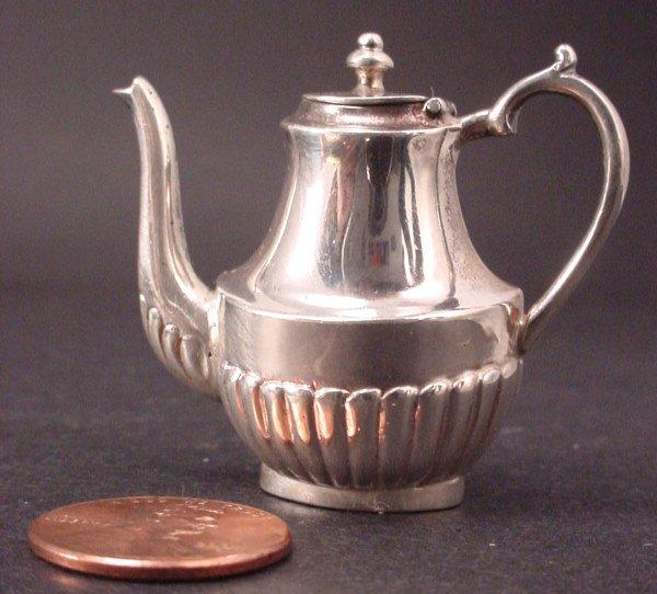 "22A: Sterling Silver Miniature Coffeepot w/""M"" hallmark"
