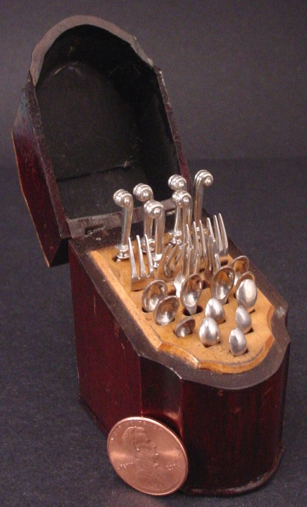 31A: Important Sterling Silver & Mahogany Miniature Fla