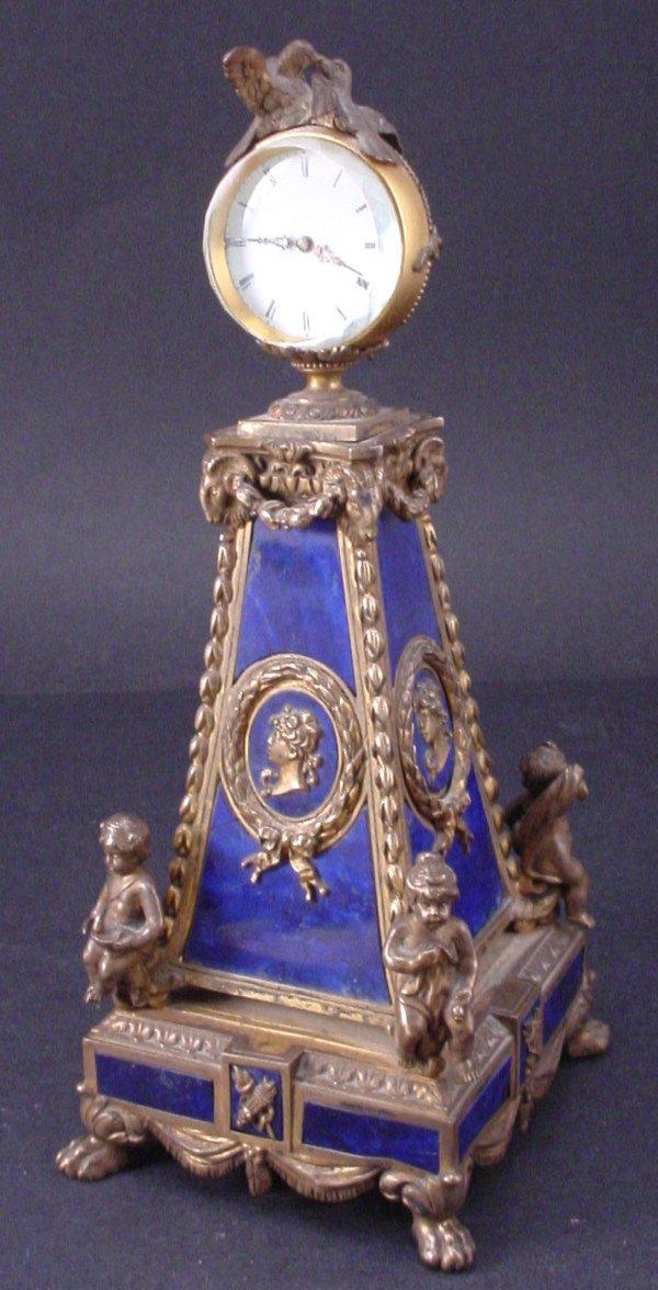 3I: Magnificent Gilded Silver & lapis lazuli Figural Cl
