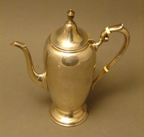 001A: Gorham Sterling Silver Chocolate Pot with ivory i