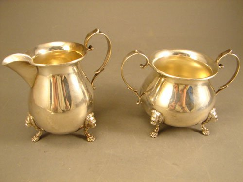 005A: Sterling Silver Creamer & Sugar with lion masks &