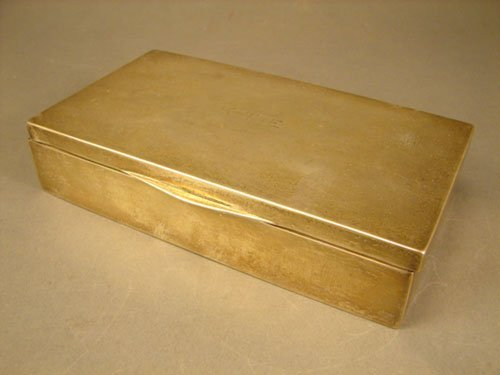 """6: Sterling Silver Box. Wood lined. Monogrammed """"K.T.E."""