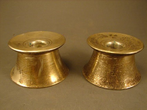 008A: Gorham Sterling Silver Pair of Low Candle Holders
