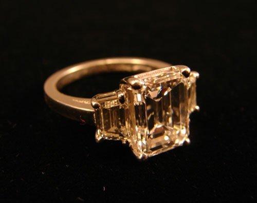 50: 3.08 Carat E Color Diamond Emerald Cut Ring