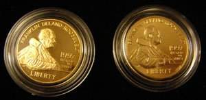 1330: 1997 FDR double $5 gold set proof and UNC