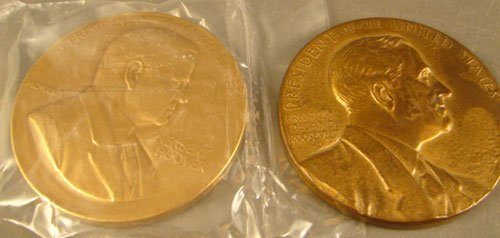 1006: 2 Bronze Inaugural Medals: FDR by JRS, Hoover by