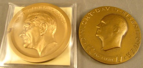 1012: 2 bronze Inaugural Medals: LBJ by Bewellon, Ike M