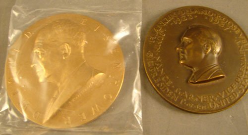 1017: 2 bronze Inaugural Medals: Ike by Roberts 3 in.,