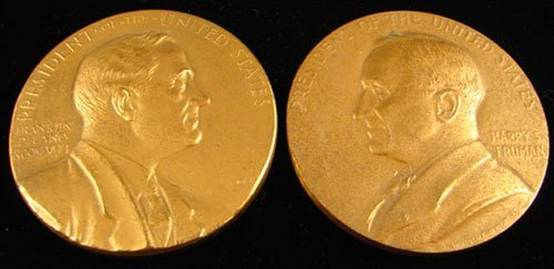 1018: 2 bronze Inaugural Medals: Truman by Sinnock, FDR