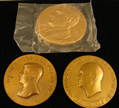 1022: 3 bronze Inaugural Medals: JFK 2 ¾ in. by Manship