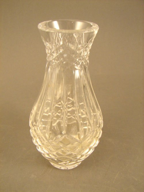 1: Cut Crystal Bud Vase. Signed yet illegible. 20th c.