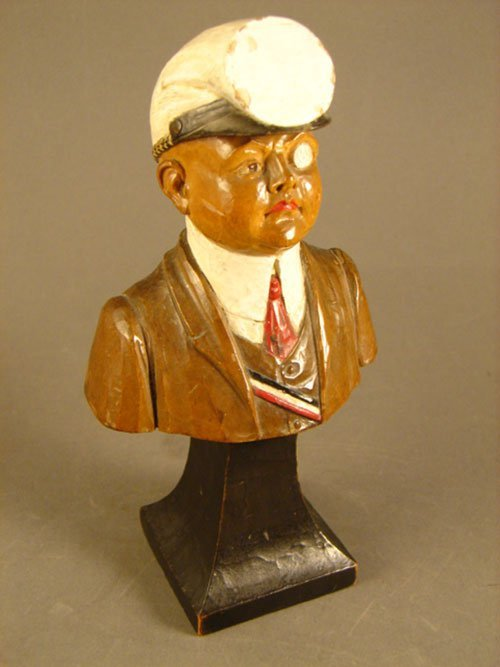 10: Early Hand Carved & Polychromed Bust of a Military
