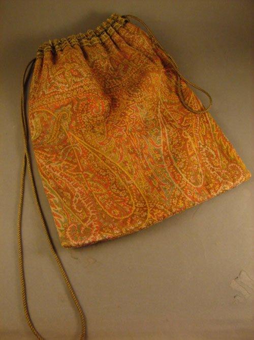 30: Antique Paisley Cloth Ladies Hand Bag. ca. 1920. 14