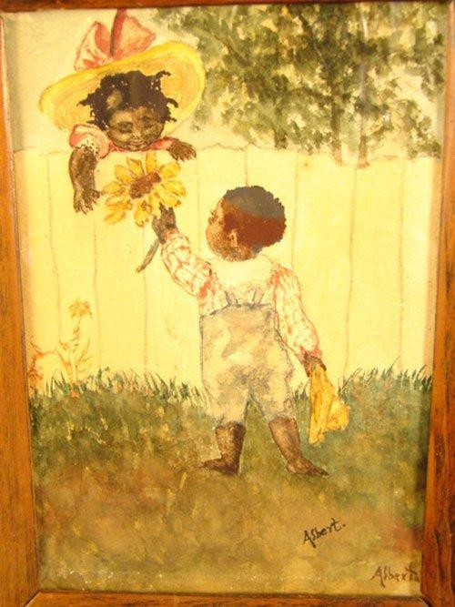 "35: ""Asbert"" Signed Black Americana Watercolor Painting"