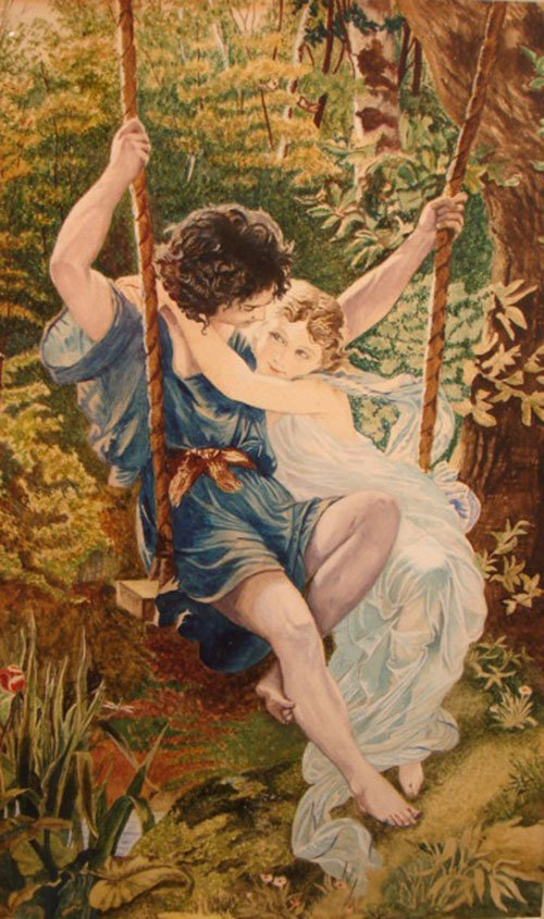 40: Original Watercolor Painting on Paper. Scene depict