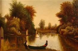125: Antique Hudson River School Oil Painting on Canvas