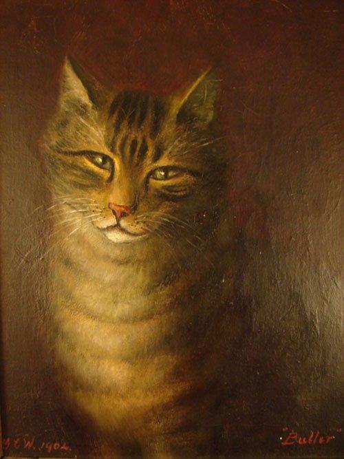 137: Antique Oil Painting on Canvas, Portrait of a cat.