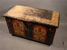 149: Paint Decorated Antique Blanket Box. Box made ca.