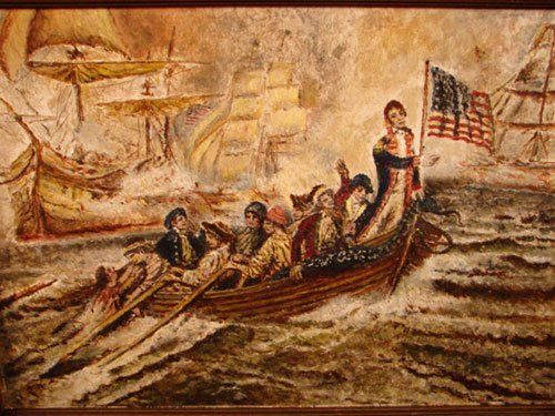 American Folk Art Painting on artist board. Titled