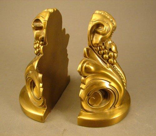 3: Philadelphia Mfg Co Decorative Brass Bookends. Heavy