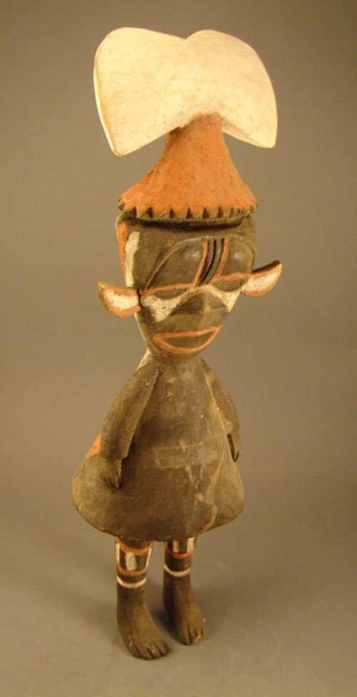 6: Early Carved & Polychromed Wooden Doll, African? Sur