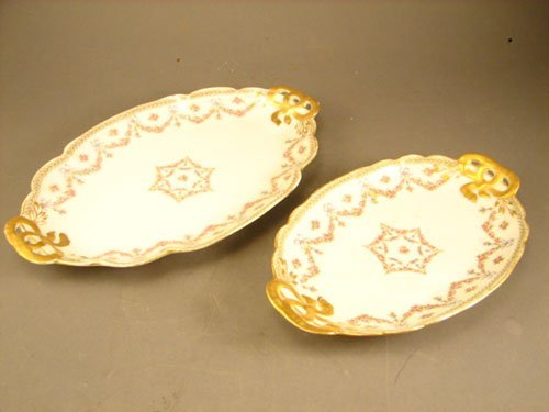 15: Two G.D.A. Limoges Porcelain Trays. Late 19th / Ear