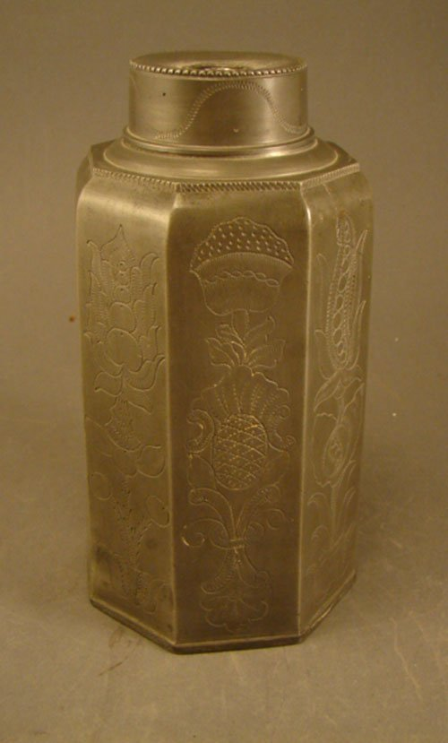 20: Antique Pewter Tea Caddy with incised decoration in