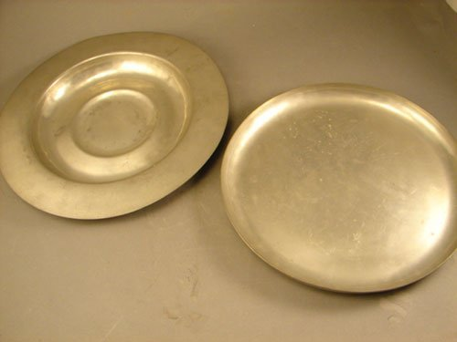 21: Two Riverwood Pewter Chargers / Platters. Marked on