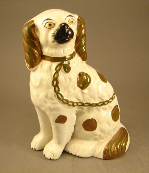 "38: Antique Staffordshire Dog / Poodle. 8"" x 6"" x 3 3/4"