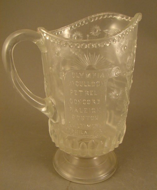 1005: EAPG Early American Pattern Glass Gridley Pitcher
