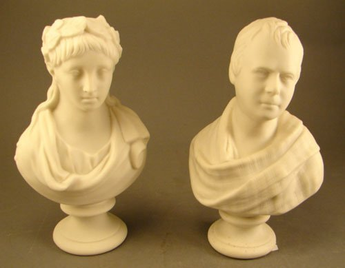 1017: Two Antique Parian Porcelain Busts of Man and Wom