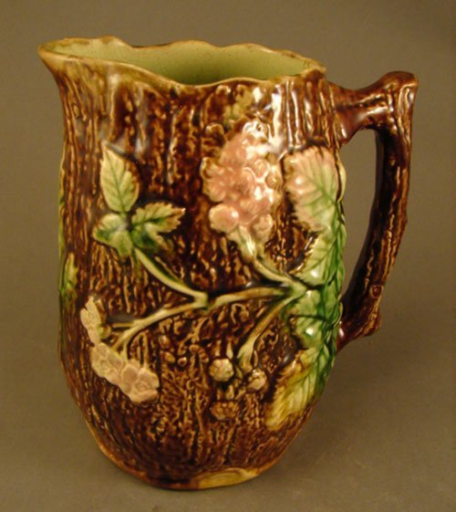 1021: Antique Majolica Pitcher. Maker and Pattern unkno