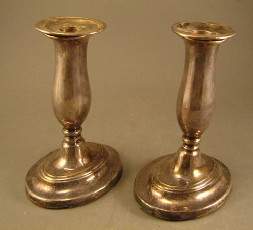 1024: Pair Early Silver Candle Holders with Bobeches. N