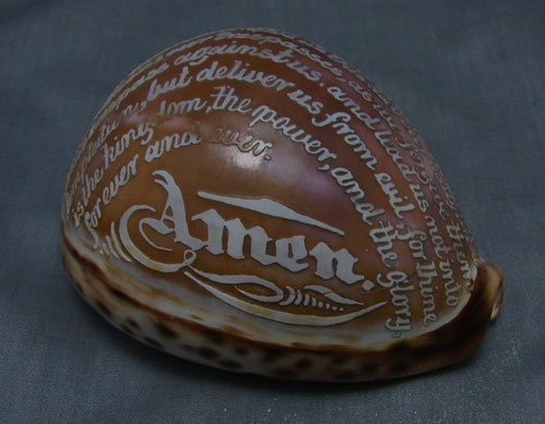 1014: Antique Carved Shell Cameo Lords Prayer. Excellen