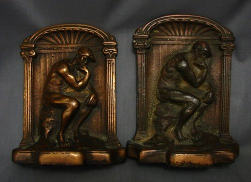 1023: Antique Bookends, Thinker. Iron with copper finis