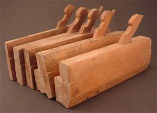 """Five Wooden Molding Planes. Marked """"Reed"""""""