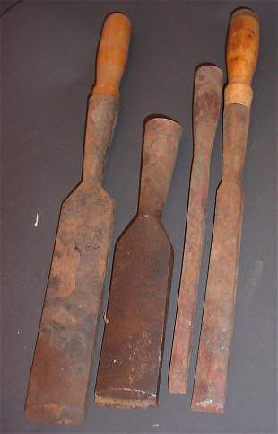 Group of 4 Antique Chisels including 2 with woode